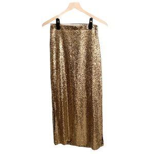 Gianni Bini sequin gold midi skirt side slits S